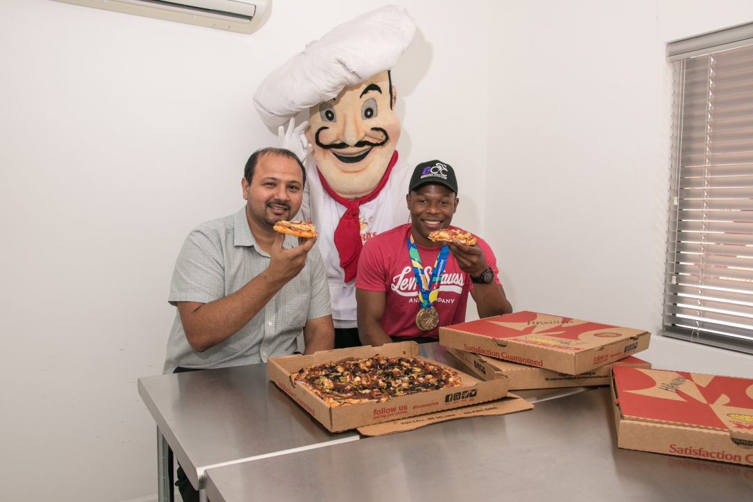 Nicholas Paul enjoys Pizza with Mario and Roger Harford
